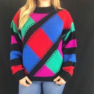 80s/90s Geometric Color Block Sweater